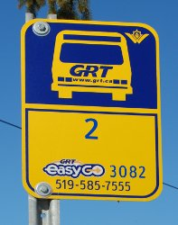Grand River Transit bus stop sign, illustrating tag numbers