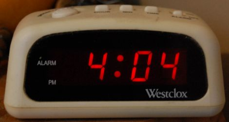 [images of digital clock reading 4:04]