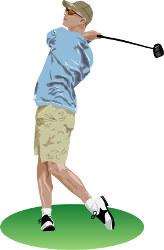 [Clipart of golf drive]