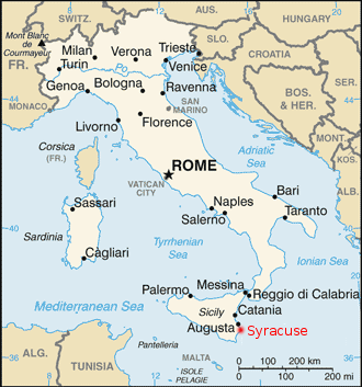 [Map of modern Italy showing the location of Syracuse]