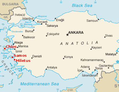 [Map of modern Turkey with the locations of ancient Samos, Miletus, and Chios highlighted]
