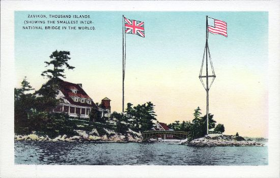 Postcard from the 1920s depicting Zavikon, Thousand Islands, and the smallest international bridge in the world between Ontario, Canada, and New York, United States